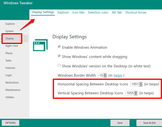 set horizontal and vertical spacing between desktop icons using Windows Tweaker