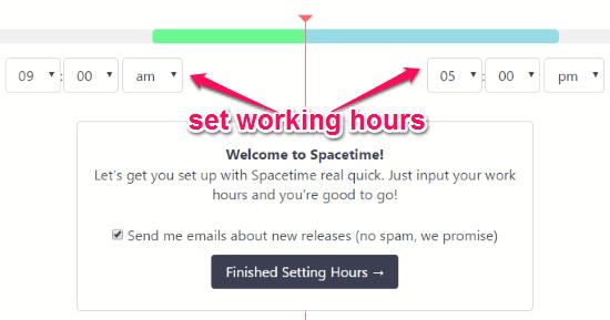 set working hours