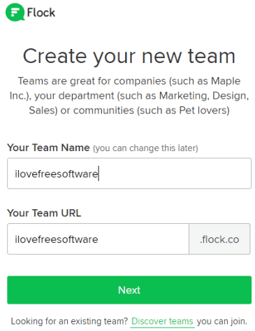 sign up to Flock