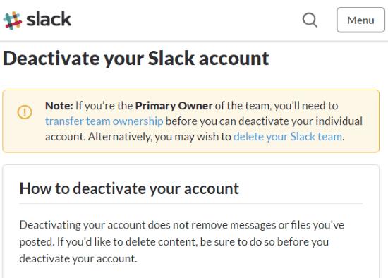 slack deactivation page