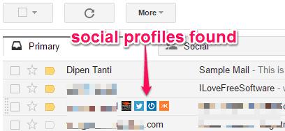 social profiles found