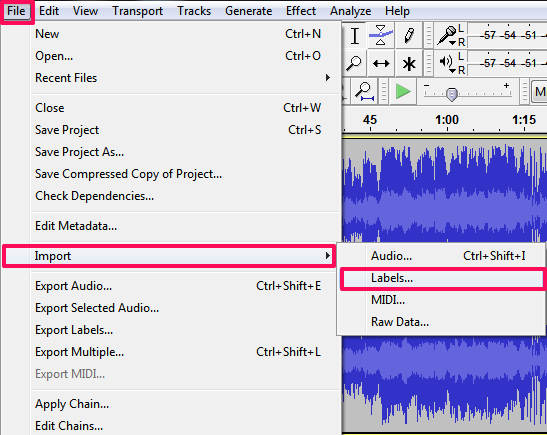 Audacity- importing bookmarks from file