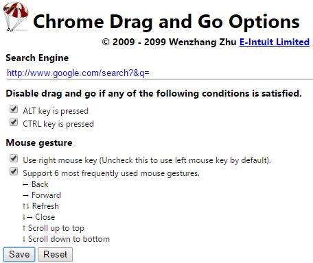 Chrome drag and go options