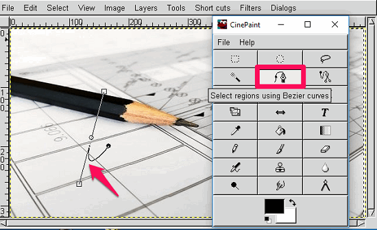 CinePaint- using Pen tool