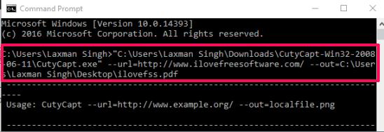 CutyCapt command line software