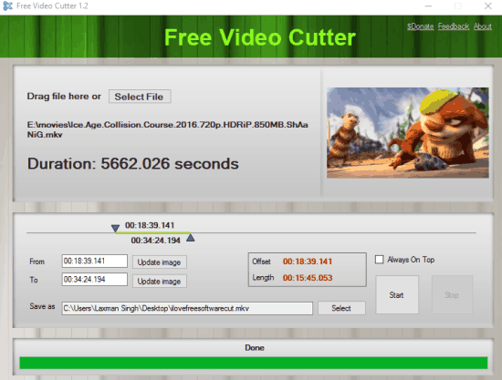 Free Video Cutter- interface