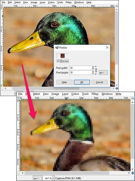 GIMP- Pixelized Blur image