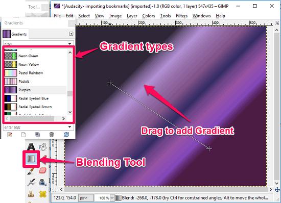 GIMP adding gradient
