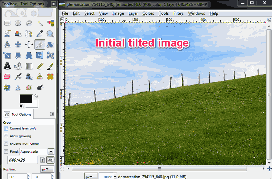 Fixing tilted image using GIMP