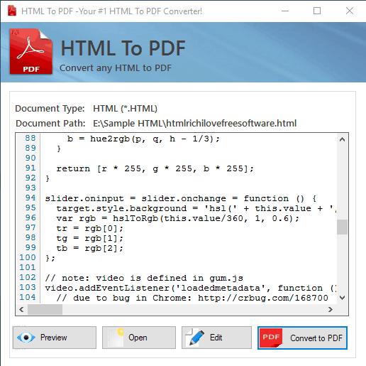 HTML To PDF- interface