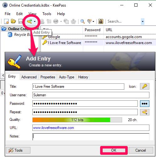 KeePass adding password