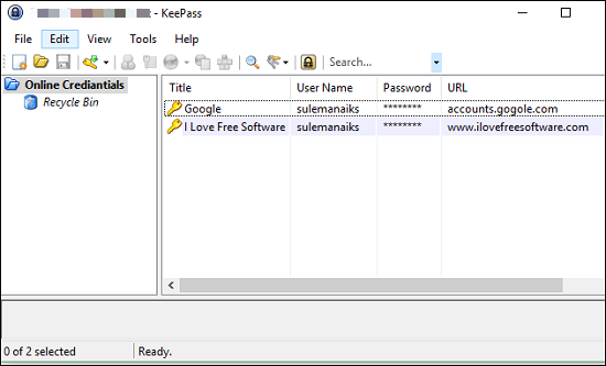 KeePass inner ui