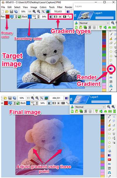LazPaint -adding gradien to photos