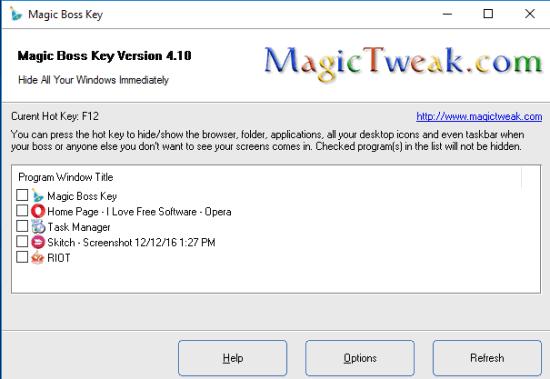 Magic Boss Key- interface