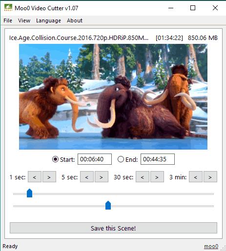 Moo0 Video Cutter- interface