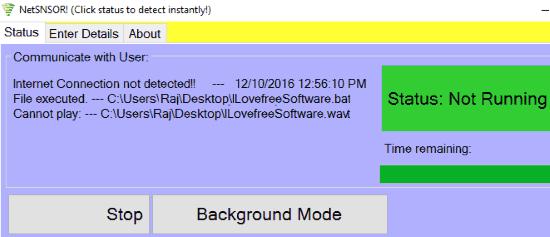 NETSNSOR main interface