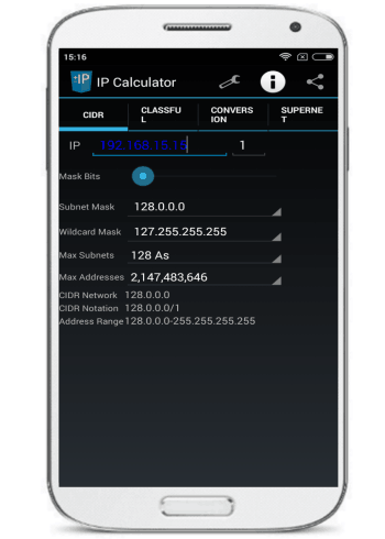 Network IP Subnet Calculator- android ip subnet calculator
