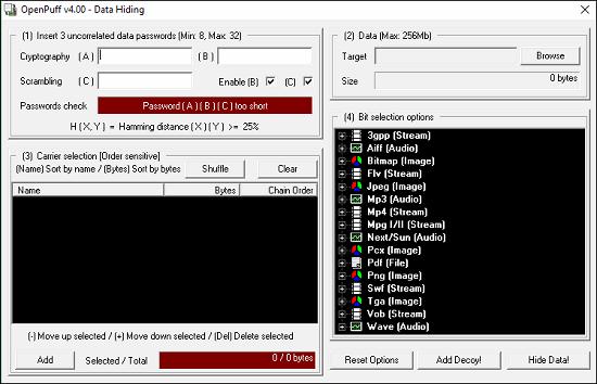 Openpuff main GUI