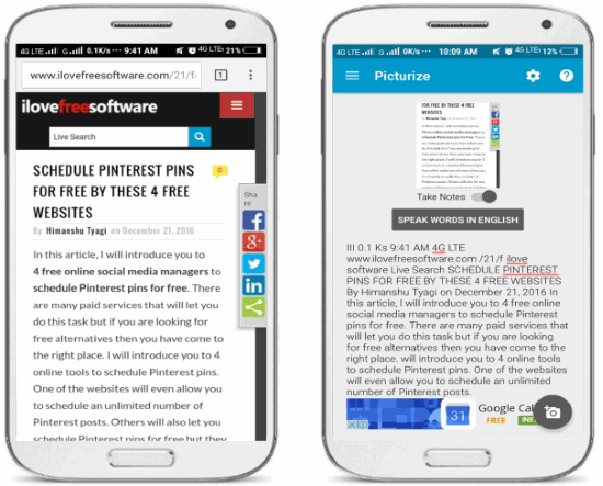 Picturize- Android OCR app to extract text from images