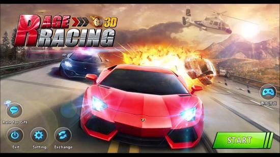Rage Racing 3D main menu