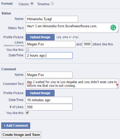 Status Clone- create fake facebook post options