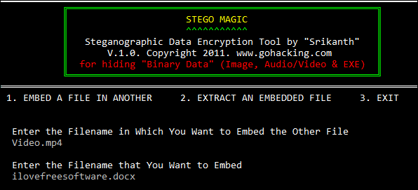 Stegomagic input files