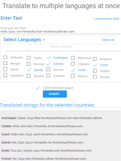 How to translate into multiple languages at once.