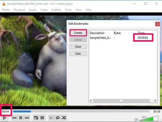 VLC adding bookmark