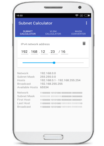 VLSM CIDR Subnet Calculator- android ip subnet calculator