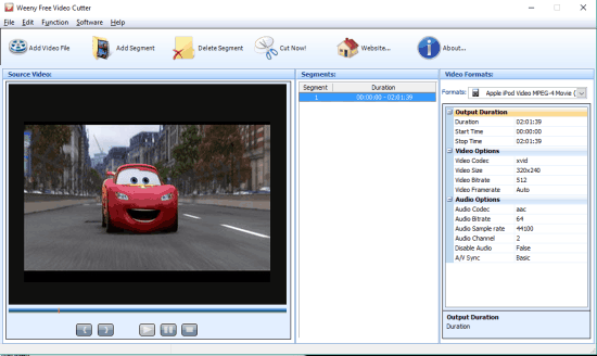 Weeny Free Video Cutter- interface