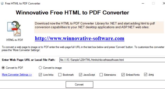 Winnovative Free HTML to PDF Converter- interface