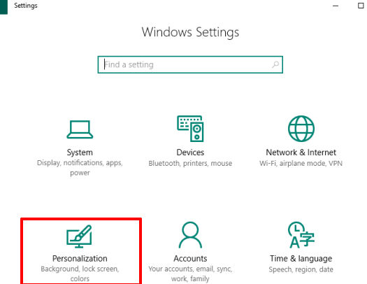 access personalization menu