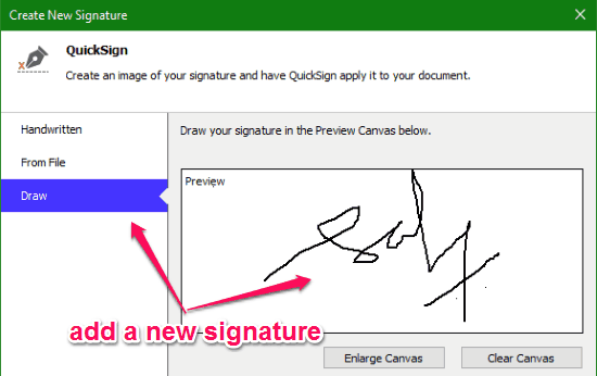 add a new signature