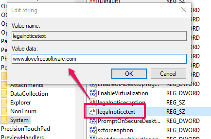 add text for legalnoticetext value