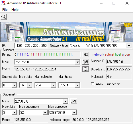 advanced ip address calculator- 5 free ip subnet calculator software