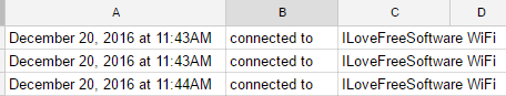 android device wifi connection activity google spreadsheet
