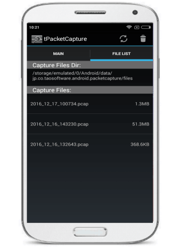android packet sniffing app for non rooted device- file list
