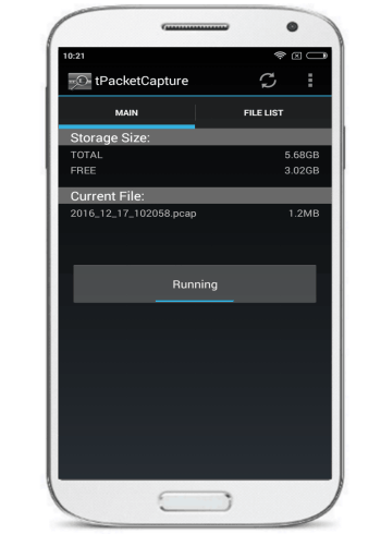 android packet sniffing app for non rooted device- start capturing data packets