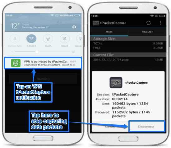 android packet sniffing app for non rooted device- stop caturing data packets