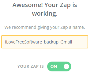 automatically backup gmail emails to Dropbox- step 5- activate zap