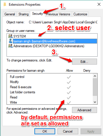 change the permissions for the user