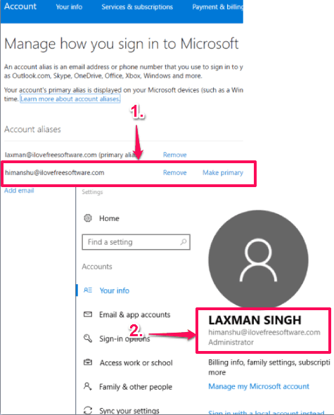 change your primary email address to login to windows 10