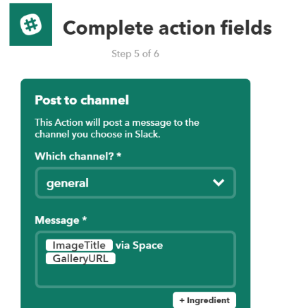 choose action fields