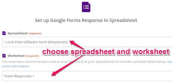 choose spreadsheet and worksheet