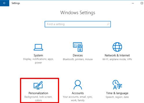 click Personalization menu