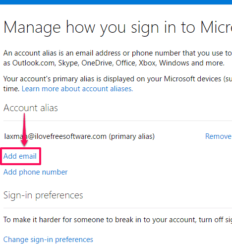 click add email option