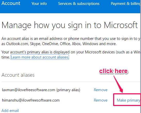 click make primary option