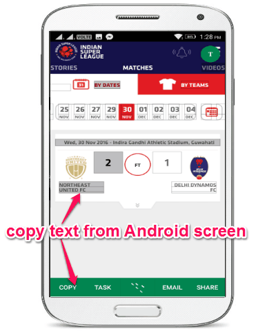 copy text from android screen