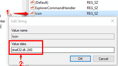 create Icon value and set shell32.dll,-240 as value data