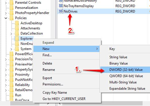 create NoDrives dword value under explorer key